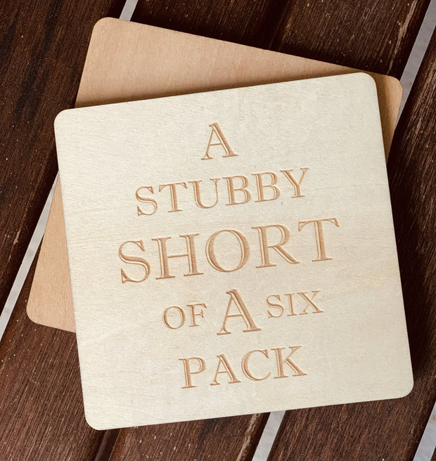 Journeyman Coasters Set of 4 Stubby Short of a Six Pack Urban Attitude