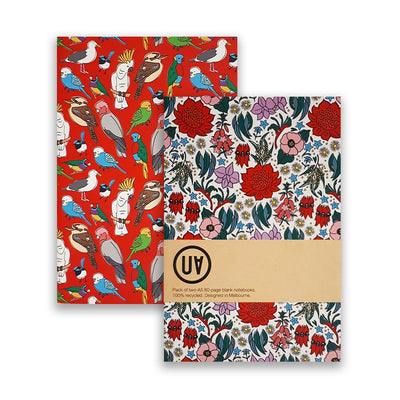 UA Softcover Notebooks Set Of 2 Birdlife & State Floral Emblems Urban Attitude