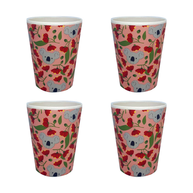 bamboo cup set of 4 koala and flowering gum urban attitude