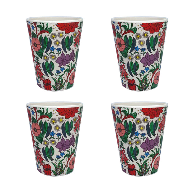 bamboo cup set of 4 state floral emblems urban attitude
