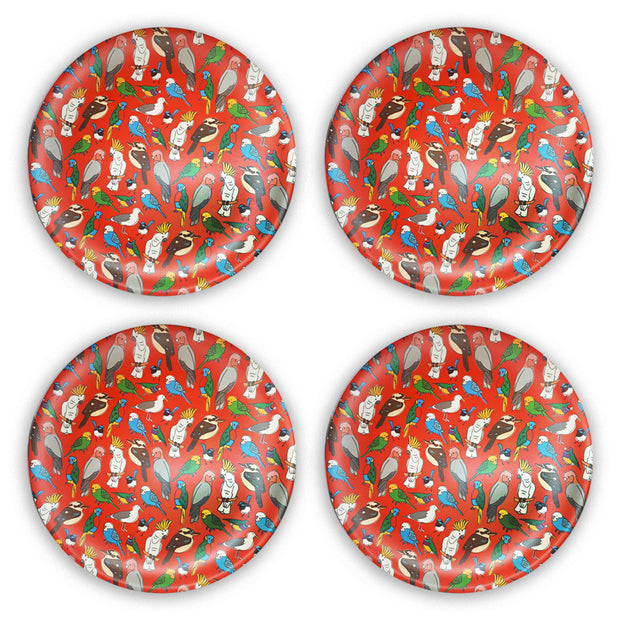 bamboo plate set of 4 birdlife main urban attitude