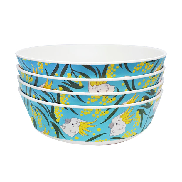 bamboo set of 4 bowls cockatoo and wattle urban attitude