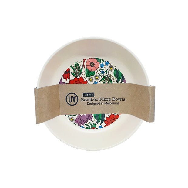 bamboo set of 4 bowls state floral emblems urban attitude