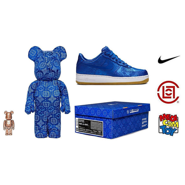 Bearbrick 100% & 400% Set CLOT X Nike Royal University Blue Silk box urban attitude