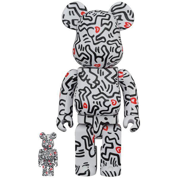 bearbrick 100 and 400 set keith haring version 8 front urban attitude