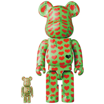 bearbrick 400% 100% set green heart urban attitude