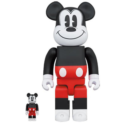 bearbrick 400 and 100 set mickey mouse red and white version urban attitude