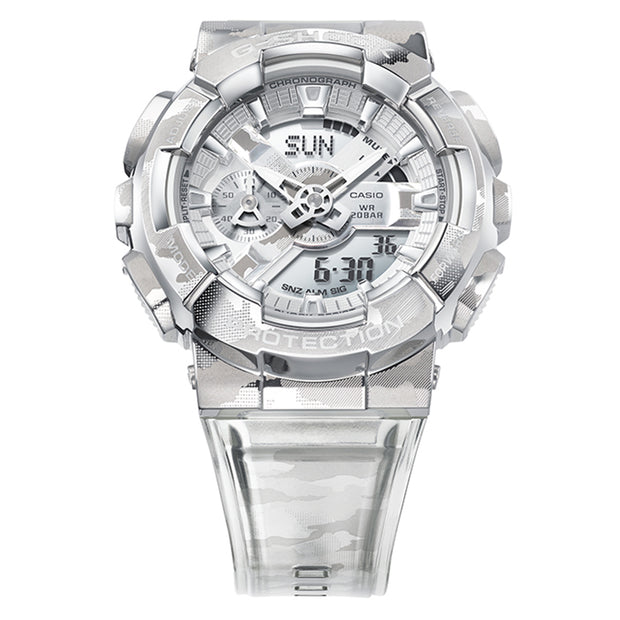 casio g-shock watch metal covered series clear camo gm110scm-1a front urban attitude