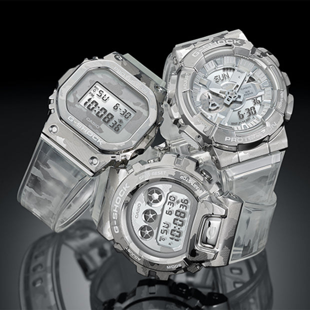 casio g-shock watch metal covered series clear camo gm110scm-1a group urban attitude