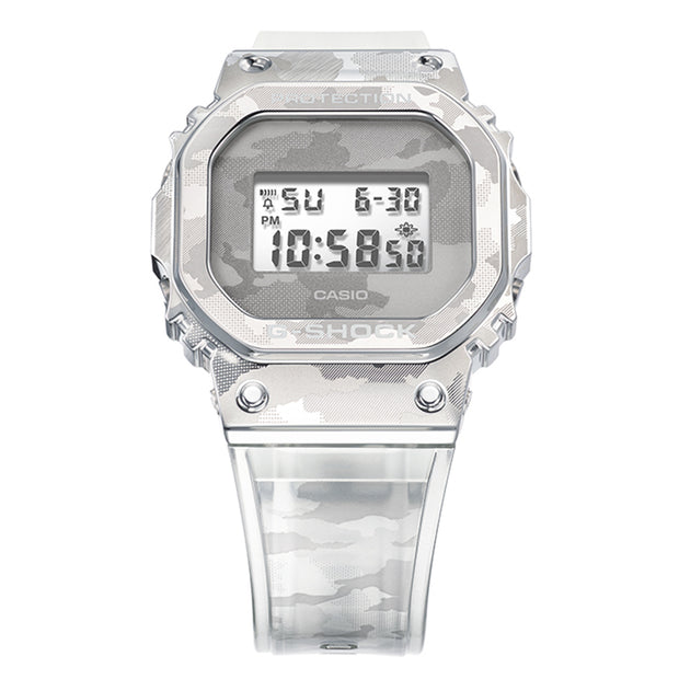 casio g-shock watch metal covered series clear camo gm5600scm-1d front urban attitude