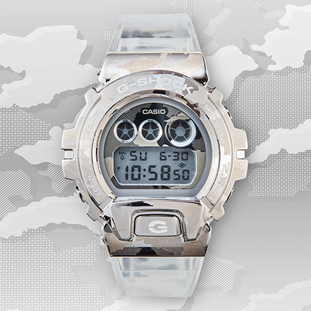 casio g-shock watch metal covered series clear camo gm6900scm-1d background urban attitude