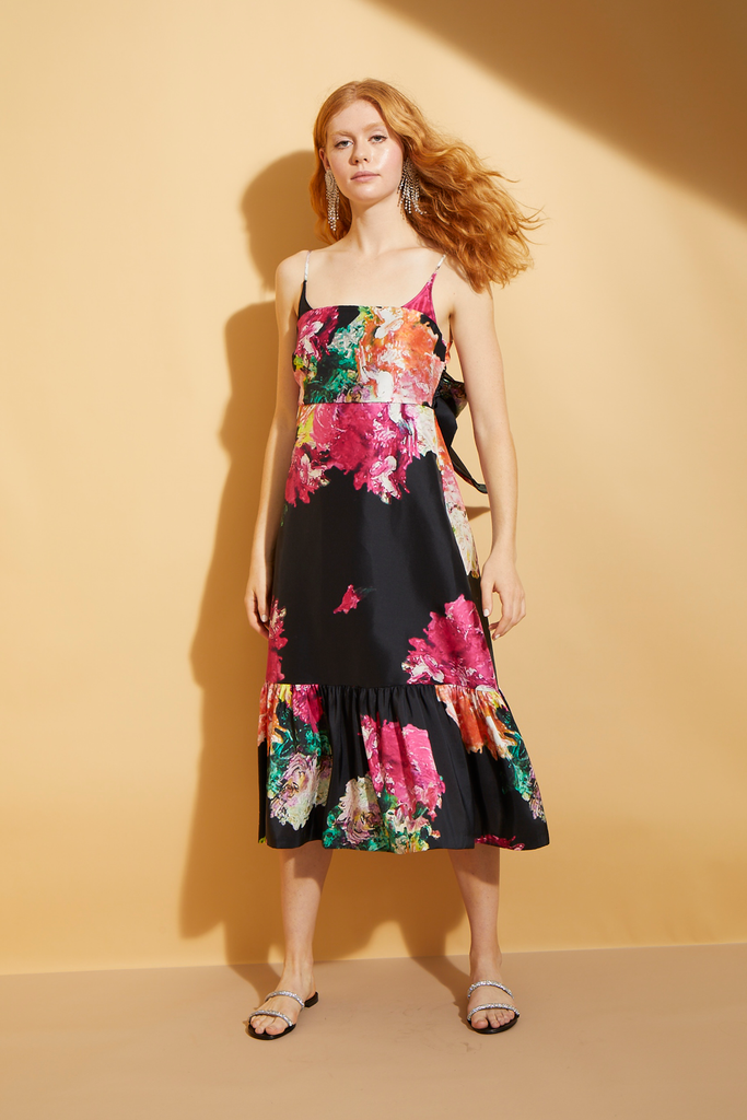 Abstract Floral  Tie-Back Dress