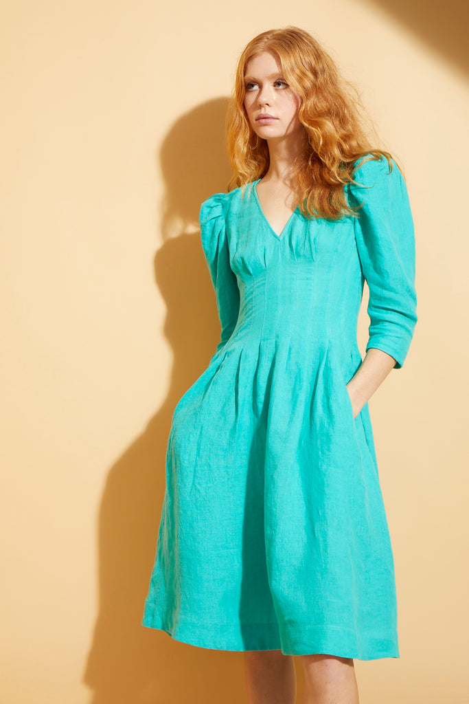 Jade Puff Sleeve Midi Dress