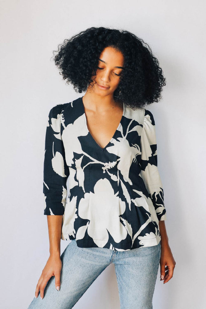 Black and Parchment Floral Puff Sleeve Blouse