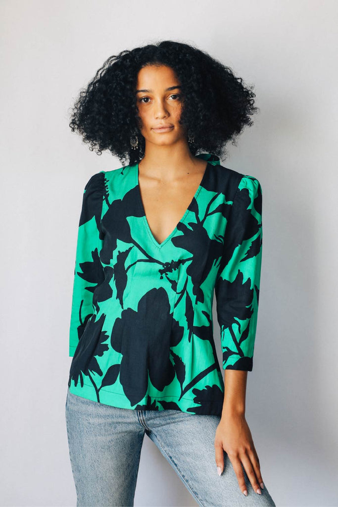 Green and Black Floral Puff Sleeve Blouse