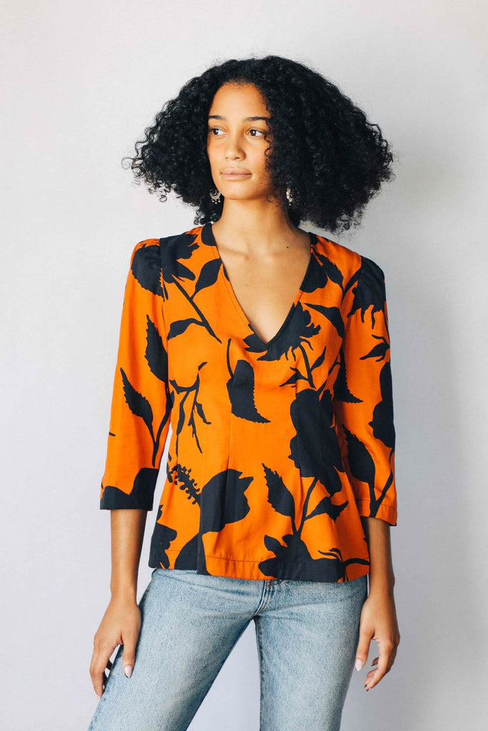 Black and Orange Floral Puff Sleeve Blouse