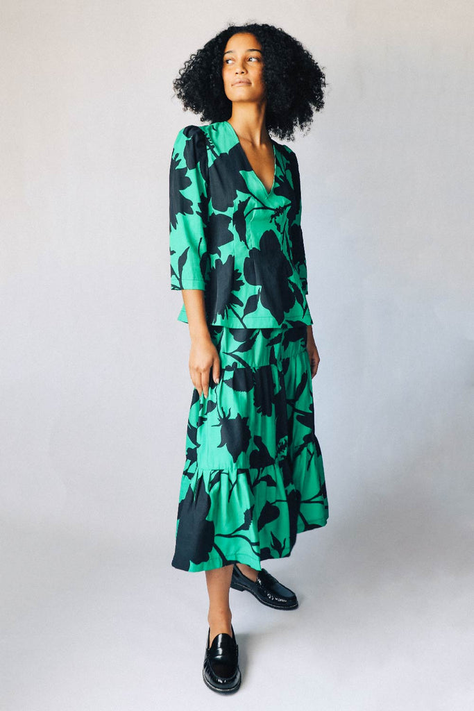 Green and Black Floral Tiered Skirt