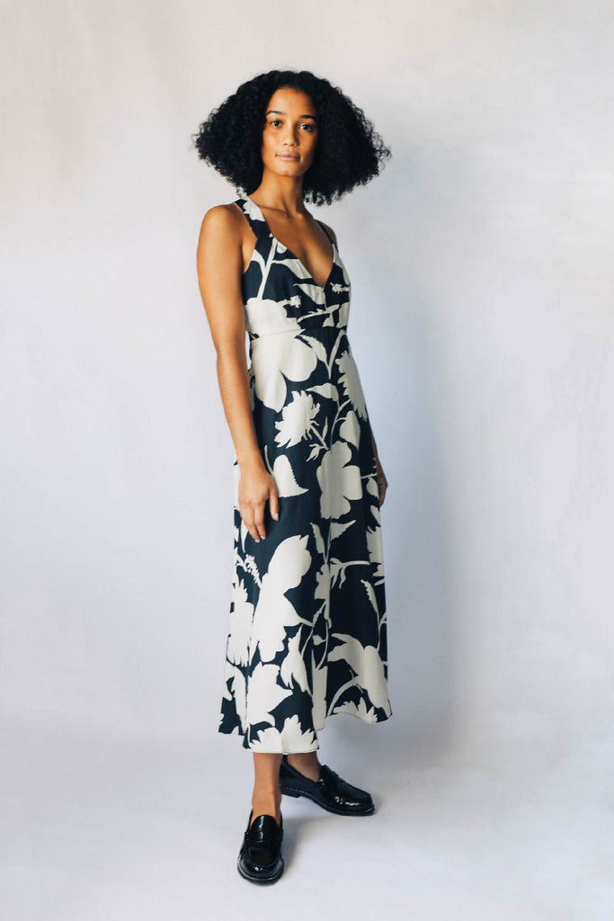 Black and Parchment Floral Slip