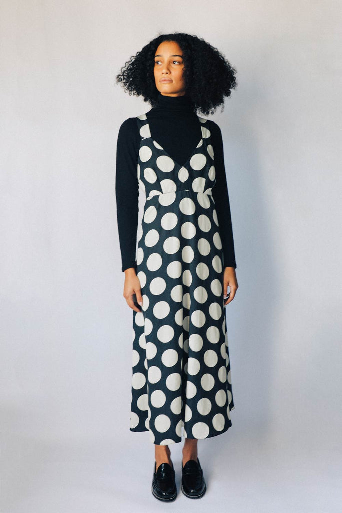 Black and Parchment Dots Slip