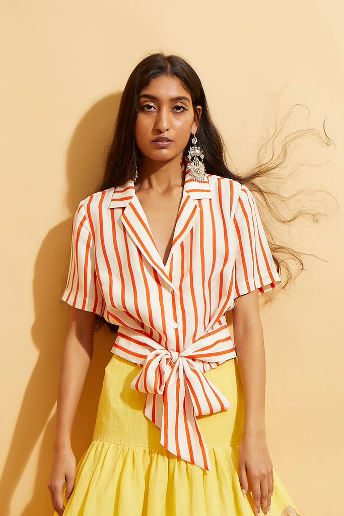 Candy Stripe Tie Waist Shirt