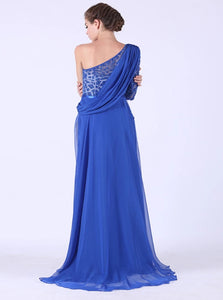 One Sleeve With Beadings And Slit Chiffon Sweep Train Prom Dresses