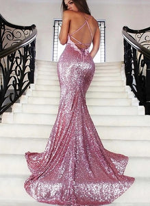 Mermaid Rose Gold Sequins Backless Prom Evening Dress LBQ0039