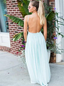 A Line Backless Mint Green Chiffon Prom Dresses with Lace