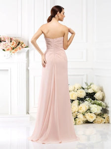 Pearl Pink A Line Pleats Sleeveless Strapless Chiffon Floor Length Bridesmaid Dresses