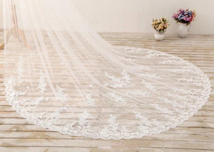 Ivory 3M Lace Appliques Tulle Cathedral Tulle Wedding Veil