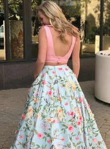 Idyllic  Sexy Two Piece V Neck Open Back Pink Floral Satin Sweep Train  Prom Dress
