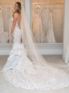 Luxurious Ruffles Mermaid Sweetheart Lace Cathedral Train Wedding Dress