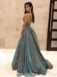 Ball Gown V Neck Sparkly Satin Criss Cross Prom Dresses with Pockets
