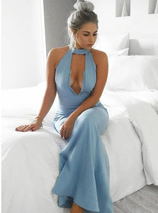 Mermaid Halter Keyhole Blue Satin Floor Length Prom Dress with Appliques