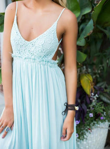 A Line Spaghetti Straps Backless Mint Green Chiffon Floor Length Prom Dresses with Lace