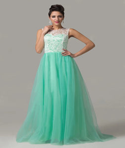 A Line Scoop Chapel Train Tulle And White Lace Mint Prom Dress