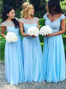 A Line Bridesmaid Dress With Beadings