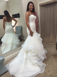Elegant Tulle Mermaid Sweetheart Sweep Train Wedding Dress with Ruffles Appliques