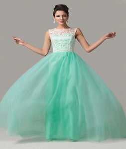 A Line Scoop Chapel Train Tulle And White Lace Prom Dresses