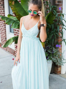 Spaghetti Straps Backless Mint Green Chiffon Prom Dress with Lace