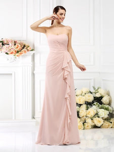 Pearl Pink A Line Pleats Sleeveless Strapless Chiffon Bridesmaid Dresses