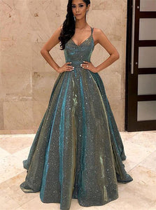 Ball Gown V Neck Sparkly Satin Floor Length Prom Dresses with Pockets