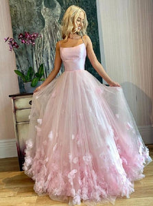 Romantic Light Pink Spaghetti Straps 3D Flowers Satin Prom Dresses