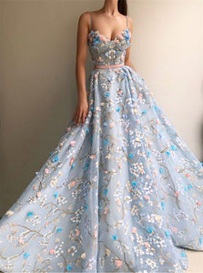 A Line Scoop Embroidery Princess Organza Prom Dresses