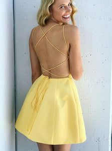 Yellow Criss Cross Spaghetti Straps Satin Homecoming Dress with Pockets