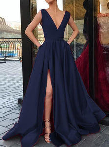 Blue Blackless Deep V Neck Satin Prom Dress with Slit