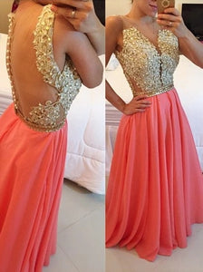 Gorgeous A Line Beaded Appliques Open Back Chiffon Long Prom dress