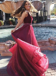 A Line V Neck Floor Length Burgundy Chiffon Sleeveless Prom Dress with Beadings
