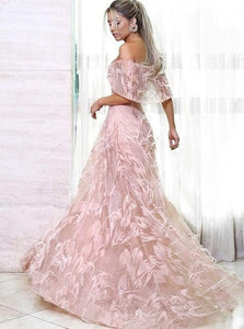 Off the Shoulder Sweep Train Pink Lace Short sleeveles Prom Dresses with Feather
