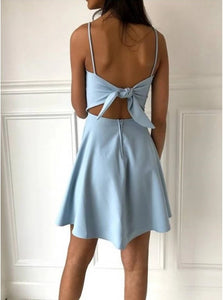 Light Blue A Line Spaghetti Straps Above Knee Satin Sleeveless Bowknot Homecoming Dress