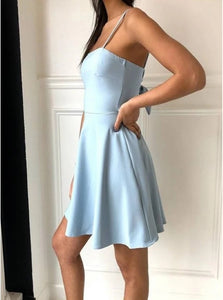 Elegant Light Blue A Line Spaghetti Straps Above Knee Satin Bowknot Homecoming Dress